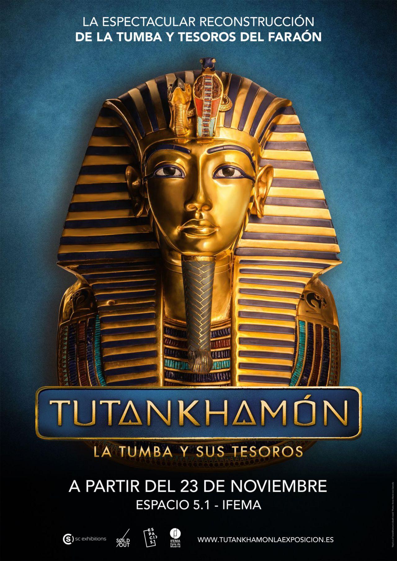 Cartel de la Exposición de Tutankamón, la tumba y sus tesoros.