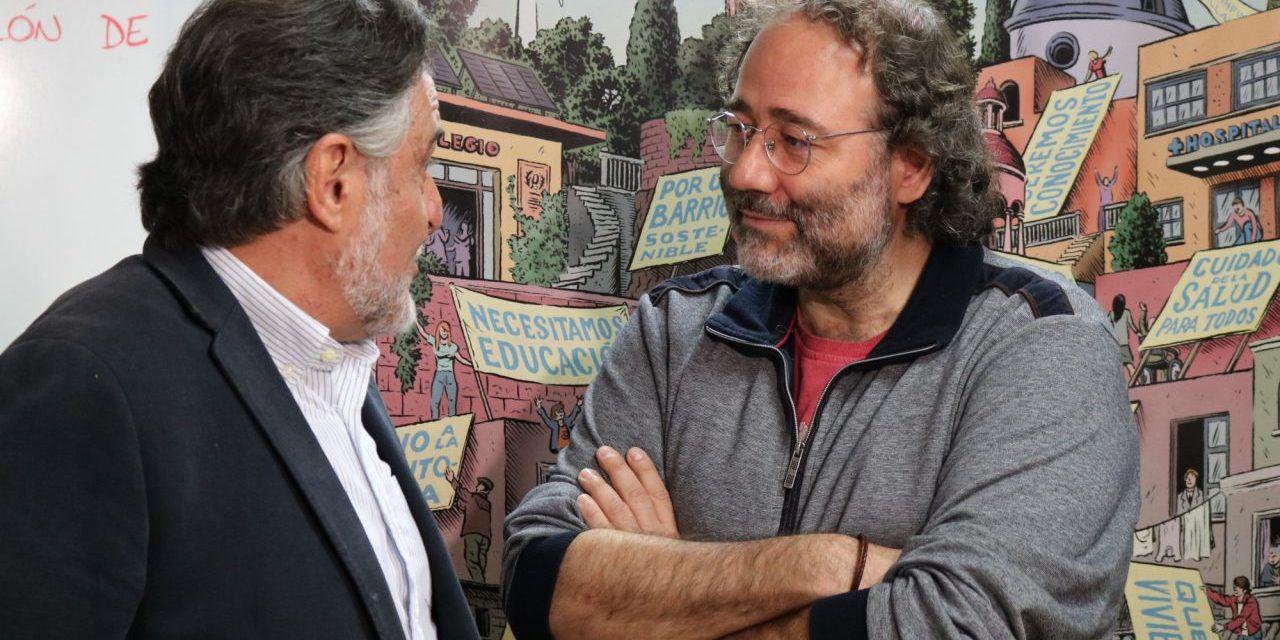 Pepu Hernández, candidato del PSOE, con el presidente de la Fravm