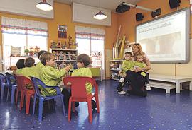 Las nuevas tecnologías, como la pizarra digital, forman parte del proyecto de Escuela enRedada de este centro educativo.