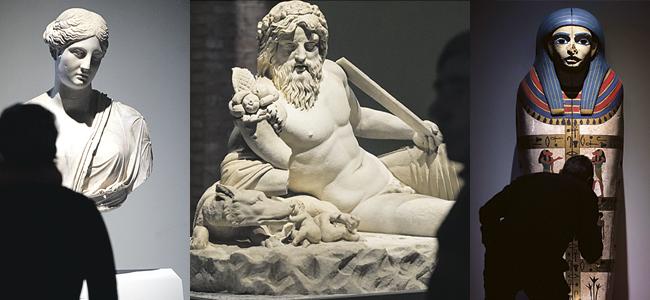 Las más de 400 piezas arqueológicas, de 80 museos y colecciones españolas e internacionales, cobran vida a través de una instalación que muestra una imagen de Egipto  y el Nilo como gran cuna civilizadora; de Alejandría como encrucijada  del mestizaje cultural; y de Roma como receptora de la influencia egipcia desde la recaudación de impuestos a la introducción del culto a Isis.