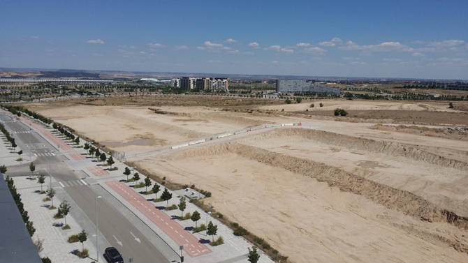 Parque Central de Valdebebas, en obras.