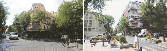 Tras el éxito de la 'OperaciónPeatón', el modelo se repitió en la posterior remodelación de Jorge Juan. Aceras más anchas al llegar a las confluencias, como la de Castelló, para proteger al viandante. A la derecha un ejemplo claro de la 'Operación Peatón': jardineras y bancos peatonales para que no puedan subirse los coches y facilitar, a la vez, el descanso del viandante.