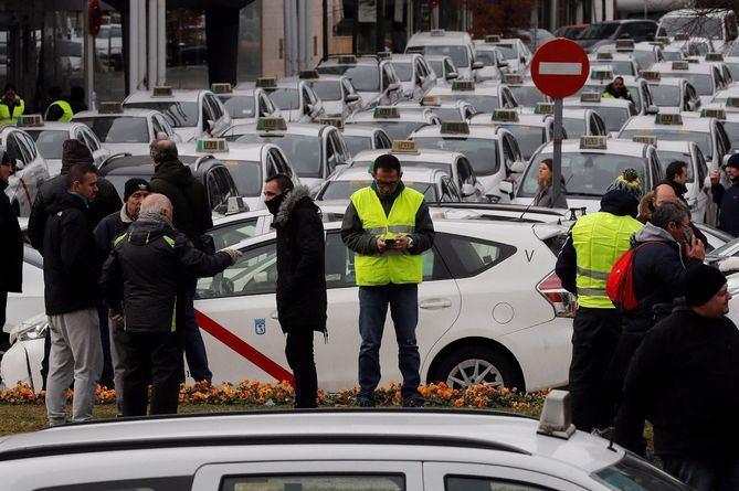 Imagen de la reciente huelga del taxi.