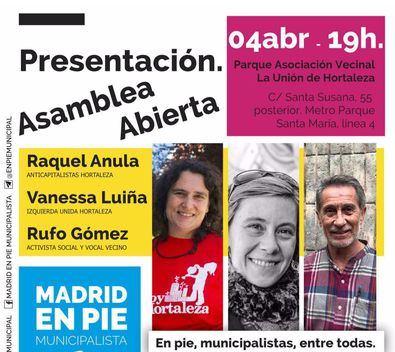 Madrid en Pie se presenta en Hortaleza