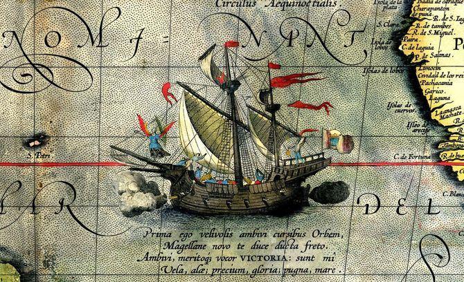 El barco Victoria, de la Expedición Magallanes-Elcano, en el llamado mapa de Ortelius.