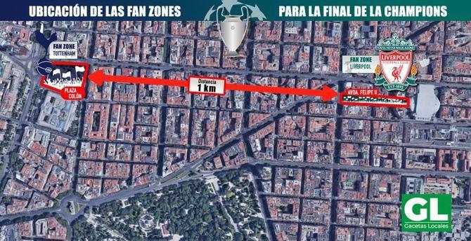 Un kilómetro de la calle de Goya separará a los aficionados del Liverpool y del Tottenham.