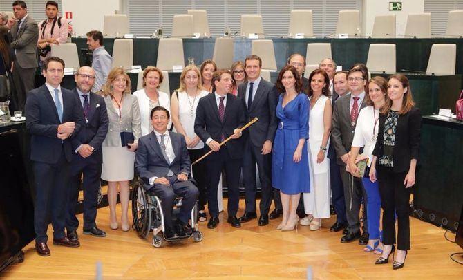 El equipo de gobierno del PP presidido por el alcalde, José Luis Martínez Almeida.
