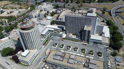 El Hospital La Paz visto desde el aire.