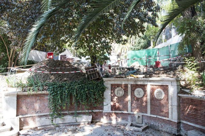 Las obras ya han comenzado en el ramal de Fuente del Berro, junto al monumento que da nombre al parque.