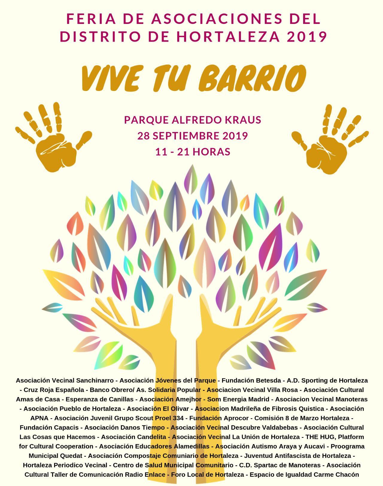 Cartel de la feria con todas las entidades participantes.