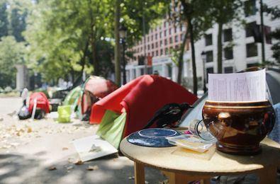 La acampada se formó el pasado mes de abril en pleno paseo del Prado.