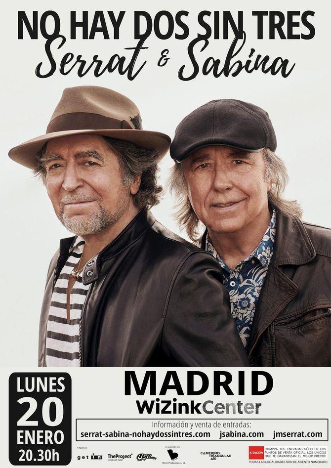Joan Manuel Serrat y Joaquín Sabina vuelven al escenario del WiZink Center el 20 de enero, con 'No hay dos sin tres'
