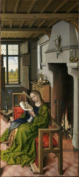 'Santa Bárbara', de Robert Campin. Óleo sobre tabla. 101 x 47 cm. 1438 Madrid, Museo Nacional del Prado.