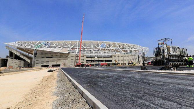 Imagen actual de las obras en los exteriores del estadio Metropolitano.