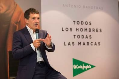 El actor malagueño, Antonio Banderas, en la presentación de la nueva campaña de moda hombre de El Corte Inglés.