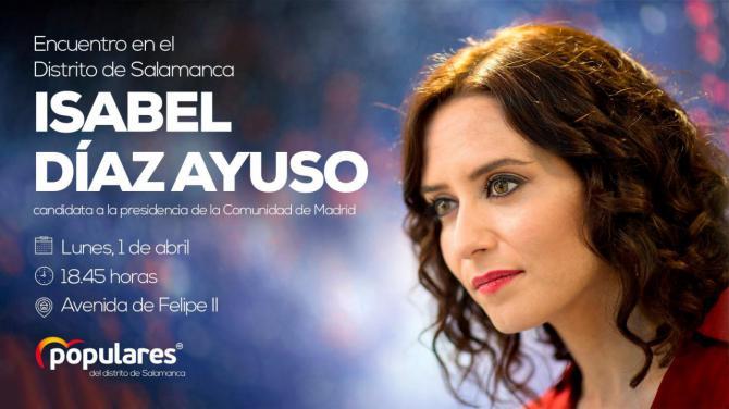 Encuentro de la candidata popular Isabel Díaz Ayuso con los vecinos del distrito de Salamanca