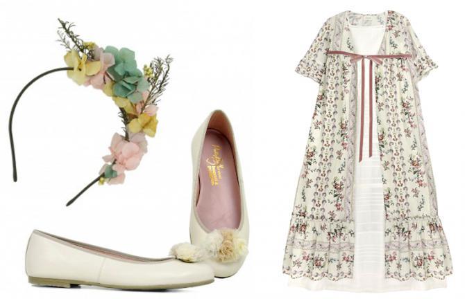 Zapatos, diadema y vestido de comunión.