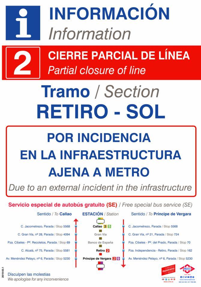 El Comité de Empresa de Metro pide información sobre el corte de la línea 2 de Metro