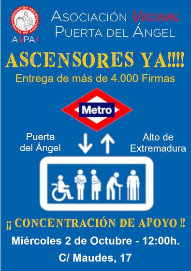 Los vecinos de Puerta del Ángel entregarán 4.500 firmas pidiendo ascensores en el Metro