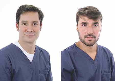 A la izquierda, el Dr. Carlos Elzaurdia, Odontólogo Profesor Máster Endodoncia y Director Clínica Dental Roma. A la derecha, el Dr. Pablo Romero, Odontólogo Profesor Máster Implantología e Implantólogo Clínica Dental Roma.