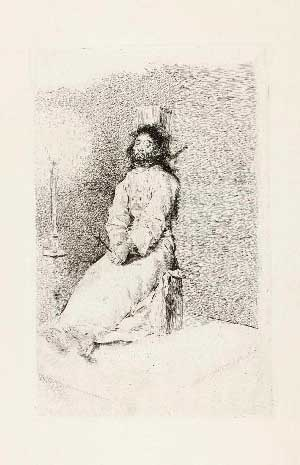 'El agarrotado', estampa de Francisco de Goya.