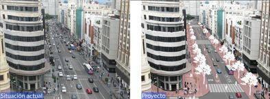 El antes y el después previsto para Gran Vía en 2018.