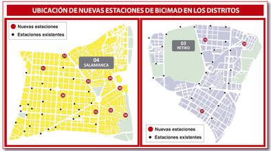 Mapa con las nuevas estaciones de BiciMAD en Salamanca y Retiro.