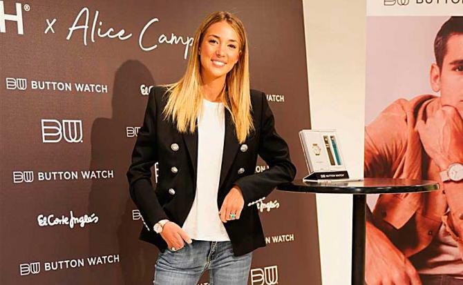 Morata y 'Button watch x Alice Campello', en El Corte Inglés