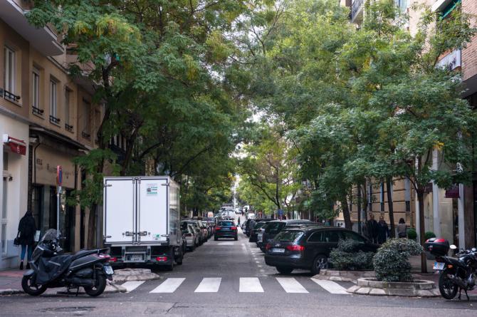 Arriba, los primeros números de la calle del General Pardiñas, con arbolado de alineación y jardineras en sus cruces.