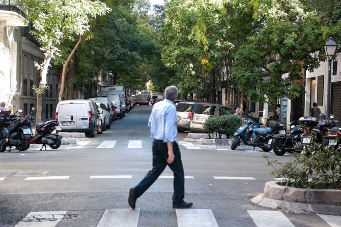 El arbolado de alineación está presente en toda la calle.