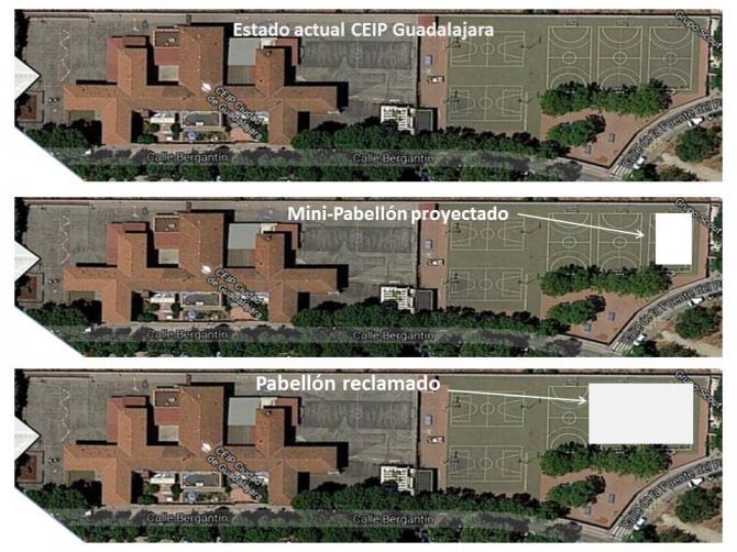 El polideportivo del colegio Ciudad de Guadalajara, demasiado pequeño