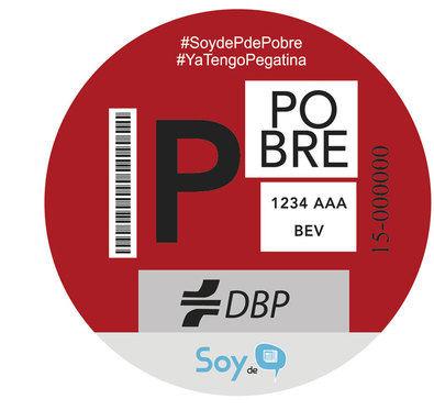 Esta es la etiqueta creada por la Plataforma de Afectados por Madrid Central y que ya se está distribuyendo.