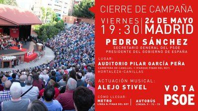 Pedro Sánchez cierra la campaña arropando a sus candidatos en el auditorio Pilar García Peña