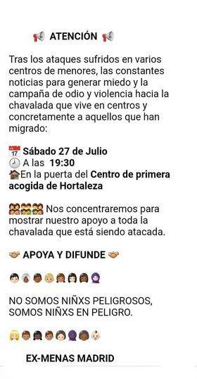 Convocatoria en Whatssap de Ex Menas Hortaleza