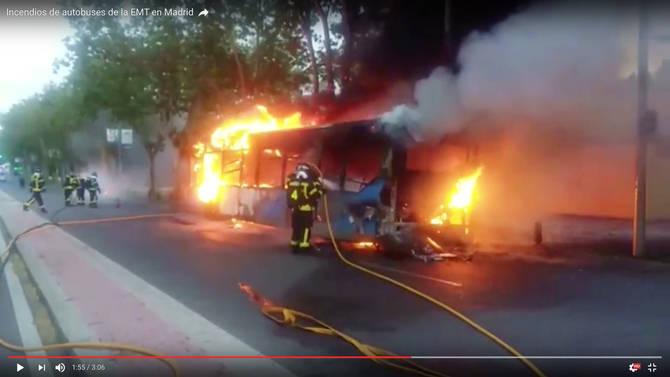 Captura del vídeo que desde el Grupo Municipal Socialista lanza para denunciar los incendios en los autobuses de la EMT.