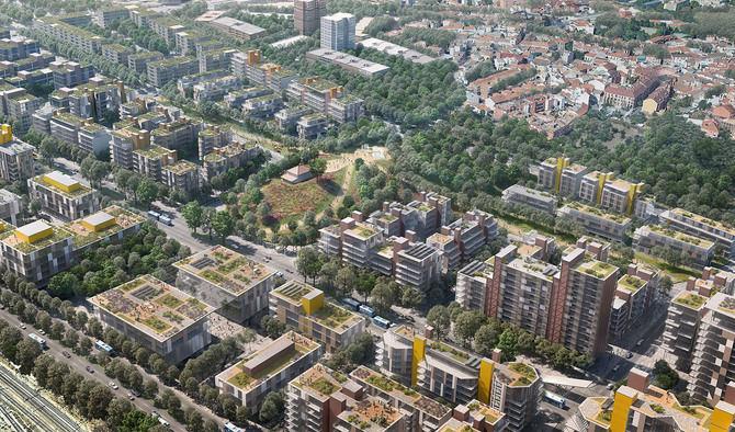 En la imagen superior, una recreación del denominado ámbito del parque de Fuencarral, que servirá de nexo de este barrio con el de Las Tablas.