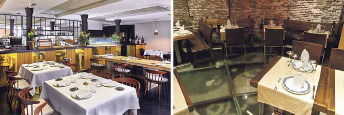 Arriba, a la izquierda el restaurante Materia ha renovado su sala, adaptándola a su propuesta. A la derecha, imagen del restaurante El Caldero.