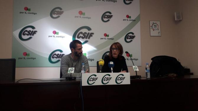 Los responsables de Csif durante la rueda de prensa.